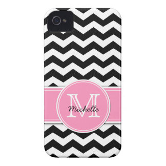 Black and White Chevron with Bubblegum Pink iPhone 4 Case-Mate Case