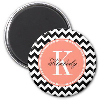Black and White Chevron with Coral Monogram 2 Inch Round Magnet