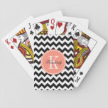 "Black and White Chevron with Coral Monogram Playing Cards<br><div class=""desc"">Design by Pastel Crown.</div>"