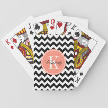 Black and White Chevron with Coral Monogram Playing Cards