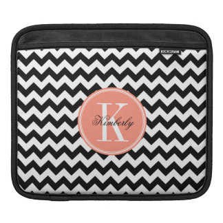 Black and White Chevron with Coral Monogram Sleeve For iPads