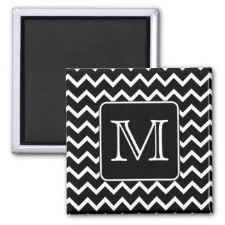 Black and White Chevron with Custom Monogram. 2 Inch Square Magnet