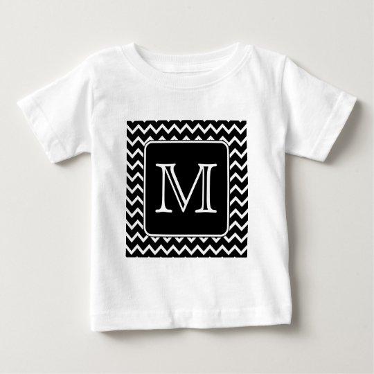 Black and White Chevron with Custom Monogram. Baby T-Shirt