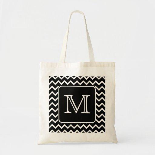 Black and White Chevron with Custom Monogram. Bags