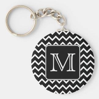Black and White Chevron with Custom Monogram. Basic Round Button Keychain