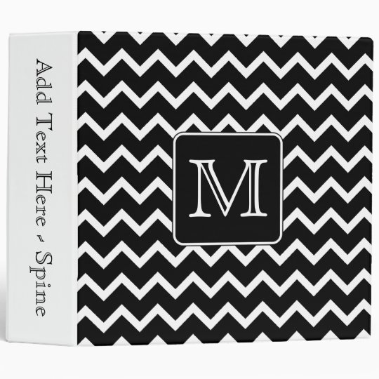 Black and White Chevron with Custom Monogram. Binder