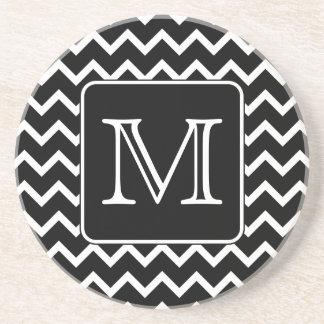 Black and White Chevron with Custom Monogram. Coaster