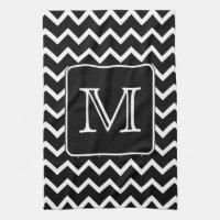 Black and White Chevron with Custom Monogram. Hand Towel