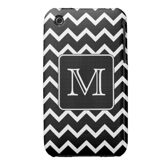 Black and White Chevron with Custom Monogram. iPhone 3 Case-Mate Case