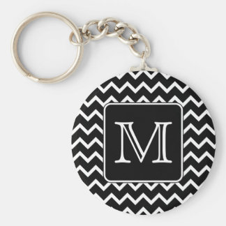 Black and White Chevron with Custom Monogram. Keychain