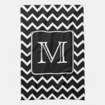 Black and White Chevron with Custom Monogram. Towels