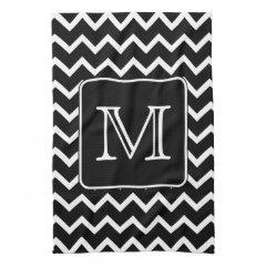 Black and White Chevron with Custom Monogram. Hand Towels