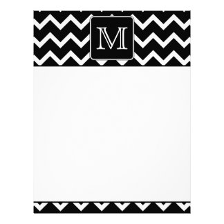 Black and White Chevron with Custom Monogram. Letterhead