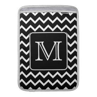 Black and White Chevron with Custom Monogram. MacBook Sleeve