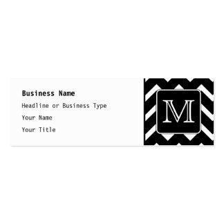 Black and White Chevron with Custom Monogram. Mini Business Card