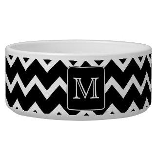Black and White Chevron with Custom Monogram. Pet Food Bowls