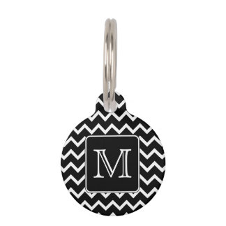 Black and White Chevron with Custom Monogram. Pet Name Tag
