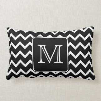 Black and White Chevron with Custom Monogram. Pillows