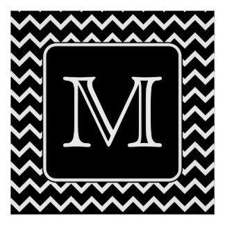 Black and White Chevron with Custom Monogram. Poster