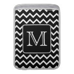 Black and White Chevron with Custom Monogram. Sleeve For MacBook Air