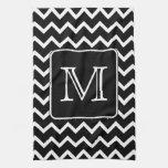 Black and White Chevron with Custom Monogram. Towels