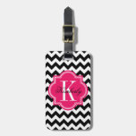 Black and White Chevron with Hot Pink Monogram Bag Tag