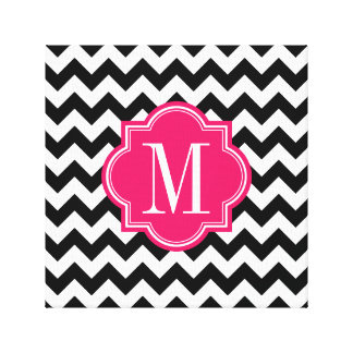 Black and White Chevron with Hot Pink Monogram Canvas Print