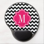 "Black and White Chevron with Hot Pink Monogram Gel Mouse Pad<br><div class=""desc"">Design by Pastel Crown.</div>"