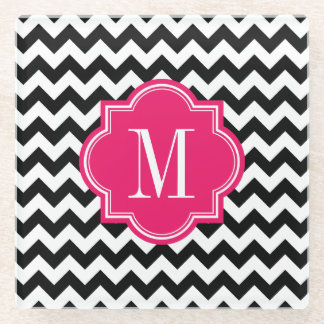 Black and White Chevron with Hot Pink Monogram Glass Coaster