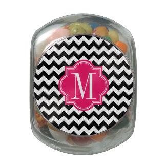 Black and White Chevron with Hot Pink Monogram Glass Jars