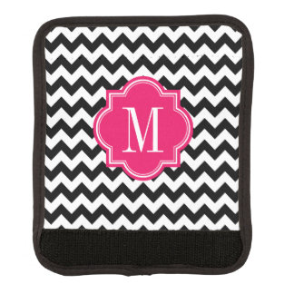 Black and White Chevron with Hot Pink Monogram Handle Wrap
