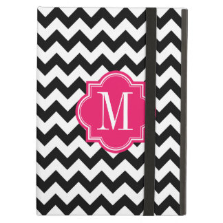 Black and White Chevron with Hot Pink Monogram iPad Air Case
