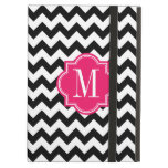 Black and White Chevron with Hot Pink Monogram iPad Air Cover