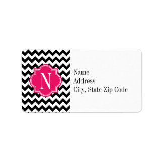Black and White Chevron with Hot Pink Monogram Label