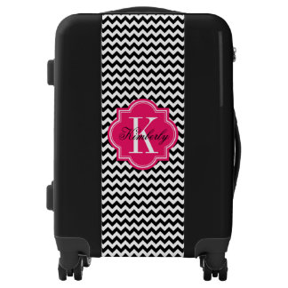 Black and White Chevron with Hot Pink Monogram Luggage