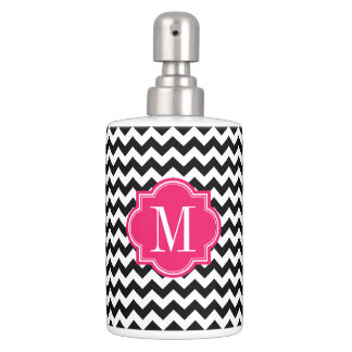 Black and White Chevron with Hot Pink Monogram Bathroom Sets