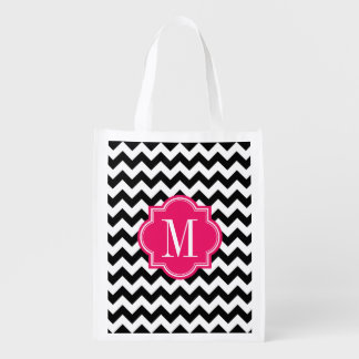 Black and White Chevron with Hot Pink Monogram Reusable Grocery Bags