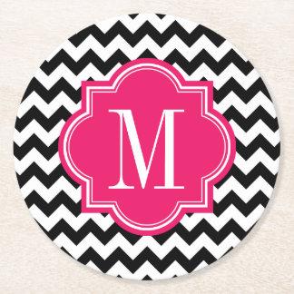 Black and White Chevron with Hot Pink Monogram Round Paper Coaster