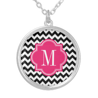 Black and White Chevron with Hot Pink Monogram Round Pendant Necklace