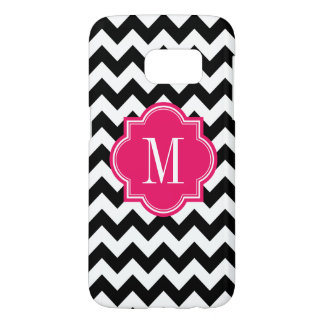 Black and White Chevron with Hot Pink Monogram Samsung Galaxy S7 Case