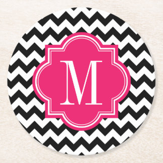 Black and White Chevron with Hot Pink Monogram Round Paper Coaster