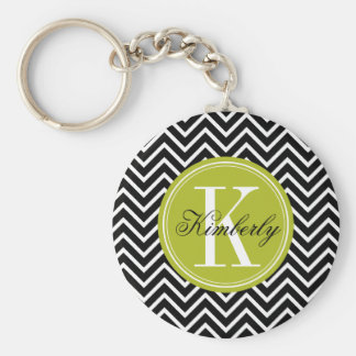 Black and White Chevron with Lime Green Monogram Basic Round Button Keychain