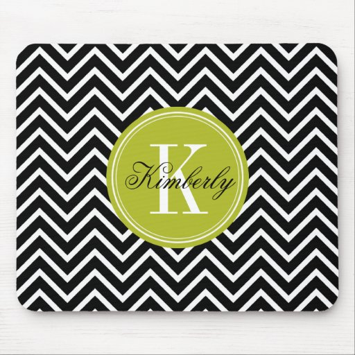 Black and White Chevron with Lime Green Monogram Mouse Pads