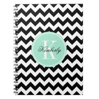 Black and White Chevron with Mint Monogram Notebook