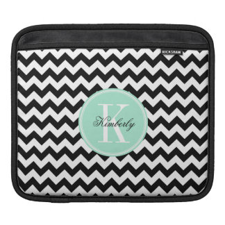 Black and White Chevron with Mint Monogram Sleeve For iPads