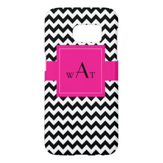 Black and White Chevron With Pink Banner Monogram Samsung Galaxy S7 Case