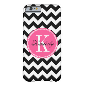 Black and White Chevron with Pink Monogram Barely There iPhone 6 Case
