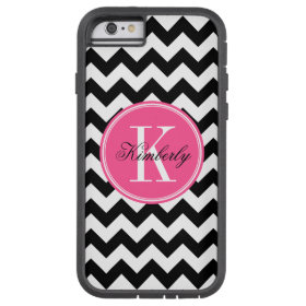 Black and White Chevron with Pink Monogram Tough Xtreme iPhone 6 Case