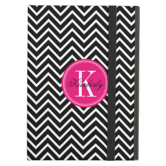 Black and White Chevron with Pink Monogram iPad Air Case