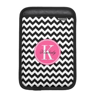Black and White Chevron with Pink Monogram iPad Mini Sleeve